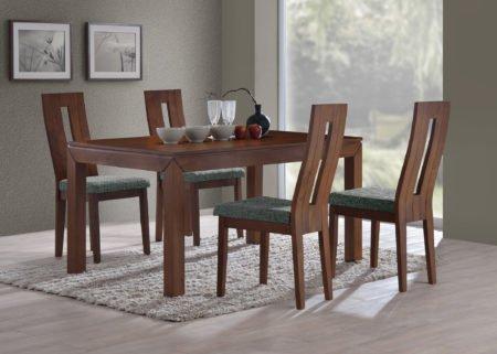 Jídelní sestava z masivu stůl MORIS a židle NELA v provedení ořech