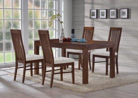 Jídelní sestava z masivního dřeva stůl MORIS a židle LAURA v ořechu