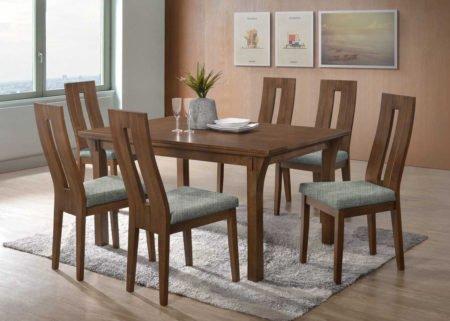 Jídelní stůl OSKAR z masivního dřeva v originálním designu s židlemi NELA v provedení ořech